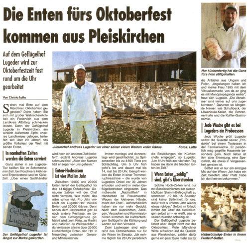 Die Enten fürs Oktoberfest kommen aus Pleiskirchen
